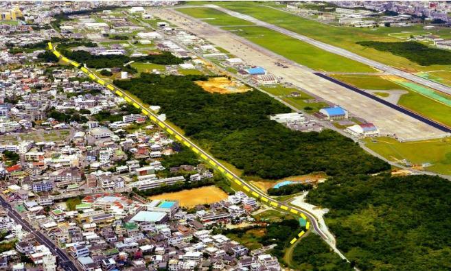 宜野湾市道11号線の航空写真(点線部分)